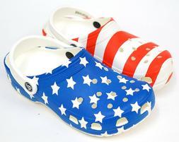 NEW Crocs Classic Red White Blue American Flag USA Slide On