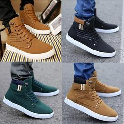 New Fashion Men's Oxfords Casual High Top Shoes Leather Shoe