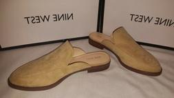 New in box Nine West women's slip on mule tan suede shoes ox