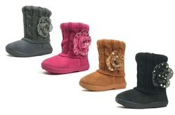 New Kids Boots Toddler Girls Cute Sequins Flower Fur Suede K