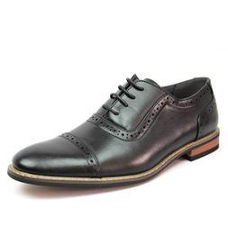 New Men's Black Dress Shoes Cap Toe Lace Up Oxfords Leather