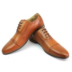 New Men's Cognac Cap Toe Detailed Perforation Dress Shoes Mo
