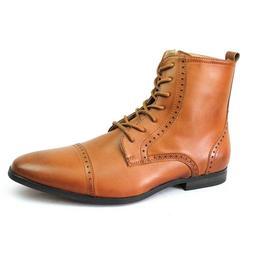 New Men's Cognac Cap Toe Boots Detailed Perforation Dress Sh