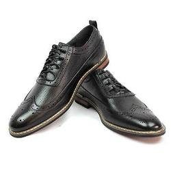 New Men's Dress Shoes Black Wing Tip Block Hill Lace New Fas