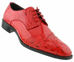 New Men's Red Exotic Eel Skin Crocodile Print Lace Folded Ox