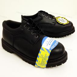 """New Men's Steel Toe Work Boots 4"""" Black Leather Oxford Oil R"""