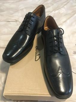 NEW CLARKS Men's Tilden Wing Black Leather Oxford Dress Comf