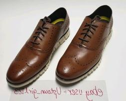 New COLE HAAN Mens Zerogrand Wingtip British Tan Leather Oxf