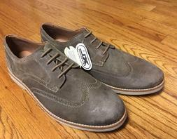 NEW Clarks Raspin Brogue Men's Oxford Taupe Suede Wing Tip C