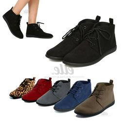 Women Casual Lace Up Slip On Faux Suede Oxford Flat Heel Ank