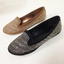 New Women's Ballet Flats Fashion Loafers Rhinestone Oxfords