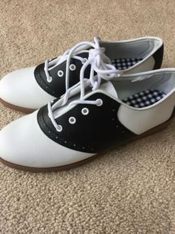 NEW Women's Predictions Saddle Oxford Shoes Black White 50