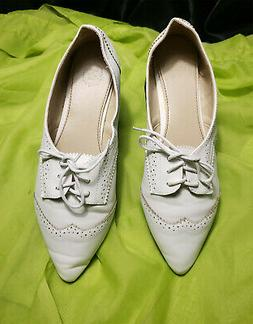 NEW OLLIO WOMENS WHITE VINTAGE STYLE OXFORD FLAT LACE UP SHO