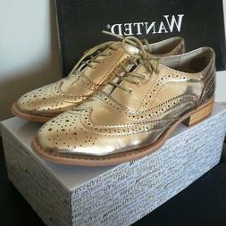 NIB. WANTED BaBe Lace Up Oxfords Gold Shoes Women's size 10