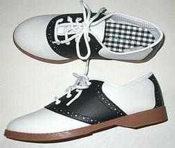 NIB Ladies 5.5 Black White Oxford Saddle Shoes Cushioned Pre