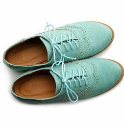 NIB Women's Ollio Lace up Wingtip Oxfords  Shoes Flats Mint