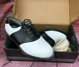 NWB Adidas Men's Sz 8 Black/White Saddle Oxford Golf Shoes