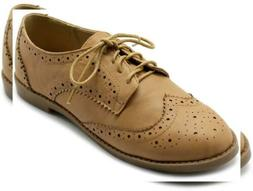 Ollio Women's Flats Shoes Wingtip Lace Up Oxfords