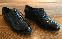 Wanted Oxford Faux Patent Leather Black Ladies Dress Shoes 8