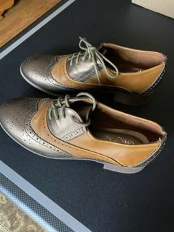 Wanted Oxford Wing Tip Brown/Metallic Women's Shoe  Size 7