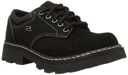 Skechers Women's Parties-Mate Oxford,Black Suede Leather,9 M