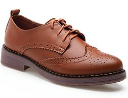 DADAWEN Women's Perforated Lace-up Wingtip Leather Flat Oxfo