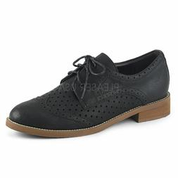 "Pin Up Couture HEP26/BPU 1"" Heel Black Faux Leather Wingtip"