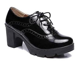 XIPAI Women's Platform Shoes Mid-Heel Vintage Oxfords Dress