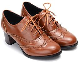 Odema Womens pu Leather Oxfords Brogue Wingtip Lace Up Dress