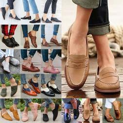 Womens Casual Brogues Flats Heels Slip On Pumps Oxford Comfy