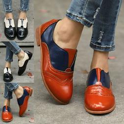 Retro Ladies Womens Low Heel Leather Slip On Oxfords Loafers