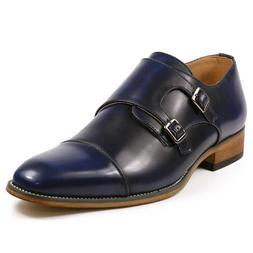 Royal Blue Men's Cap Toe Double Monk Strap Oxford Classic Dr