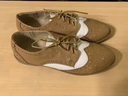 Ollio Saddle Shoes Womens 7 Tan & White New