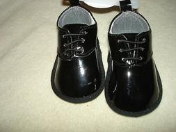 SHINY BLACK PATENT LEATHER OXFORD STYLE SHOES FOR BOYS; SIZE