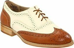 Wanted Shoes Women's Babe Oxford Lace Up Rounded Toe Tan/Nat