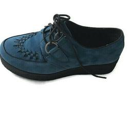 Wanted Shoes Women's Pringle Oxford Lace Up Rounded Toe Blue
