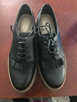 CLARKS Somerset Women's Laced Oxford shoes BLACK SIZE 7.5 M