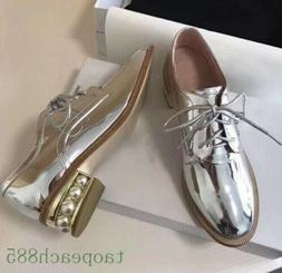 Spring Women Leather Oxford Shoes Round Toe Pearls Block Hee