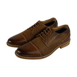 Steve Madden Tabloid Mens Brown Leather Casual Dress Lace Up