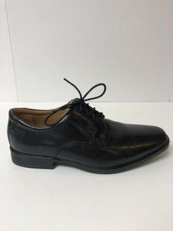 Clarks Tilden Cap Black Leather Oxford Dress Shoes Men's S