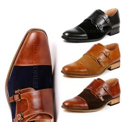Two Tone Men's Cap Toe Double Monk Strap Oxford Classic Dres