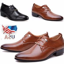 US Men's Leather Shoes Casual Formal Dress Oxfords Wedding P