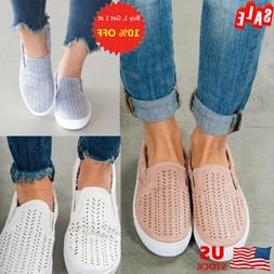 US Women's Hollow Out Round Toe Breathable Slip On Shoe Flat