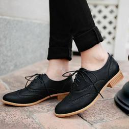 US Women's Lace Up Wing Tip Oxfords College Style Student Fl