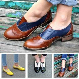 Vintage Women's Cuban Low Heel Round Toe Brogue Leather Oxfo