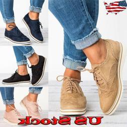 Vintage Women's Ladies Flat Heel Oxford Shoes Pointed Toe Ca