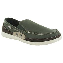 Crocs Mens Walu Accent Slip On Loafer Shoes, Army Green/Stuc