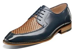 Stacy Adams Winthrop Moc Toe Woven Oxford Shoes Navy Multi