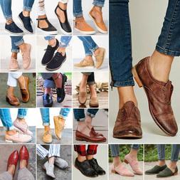 Women Casual Brogues Flats Heels Slip On Pumps Oxford Comfy