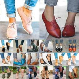 Women Casual Oxfords Flats Brogues Lace Up Summer Work Offic